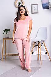 Брючна піжама плюш-велюр батал П1302 Рожевий