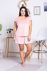 Велюрова піжама з шортами XXL+ П1303 Рожевий