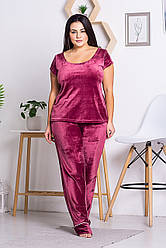 Жіноча піжама з плюш-велюру XXL+ П1311 Бордо