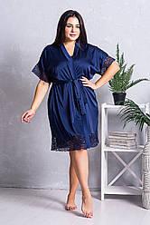 Халат жіночий шовковий Х1241 Синій