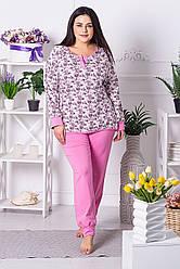 Брючна піжама XXL+ П1204 Принт цв.+ рожевий