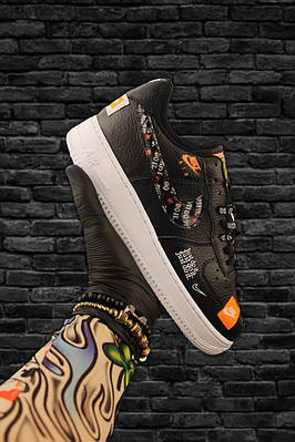 Кроссовки Nike Air Force 1 Low Just Do It Black White, черного цвета, Найк Аир Форс