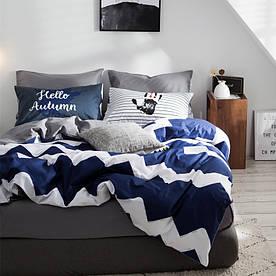 Комплект Постільної Білизни Сатин Двоспальний Синій 180х220 (BS-103)