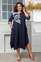 Женское свободное платье с карманами большие размеры, стильное платье батал, модное платье