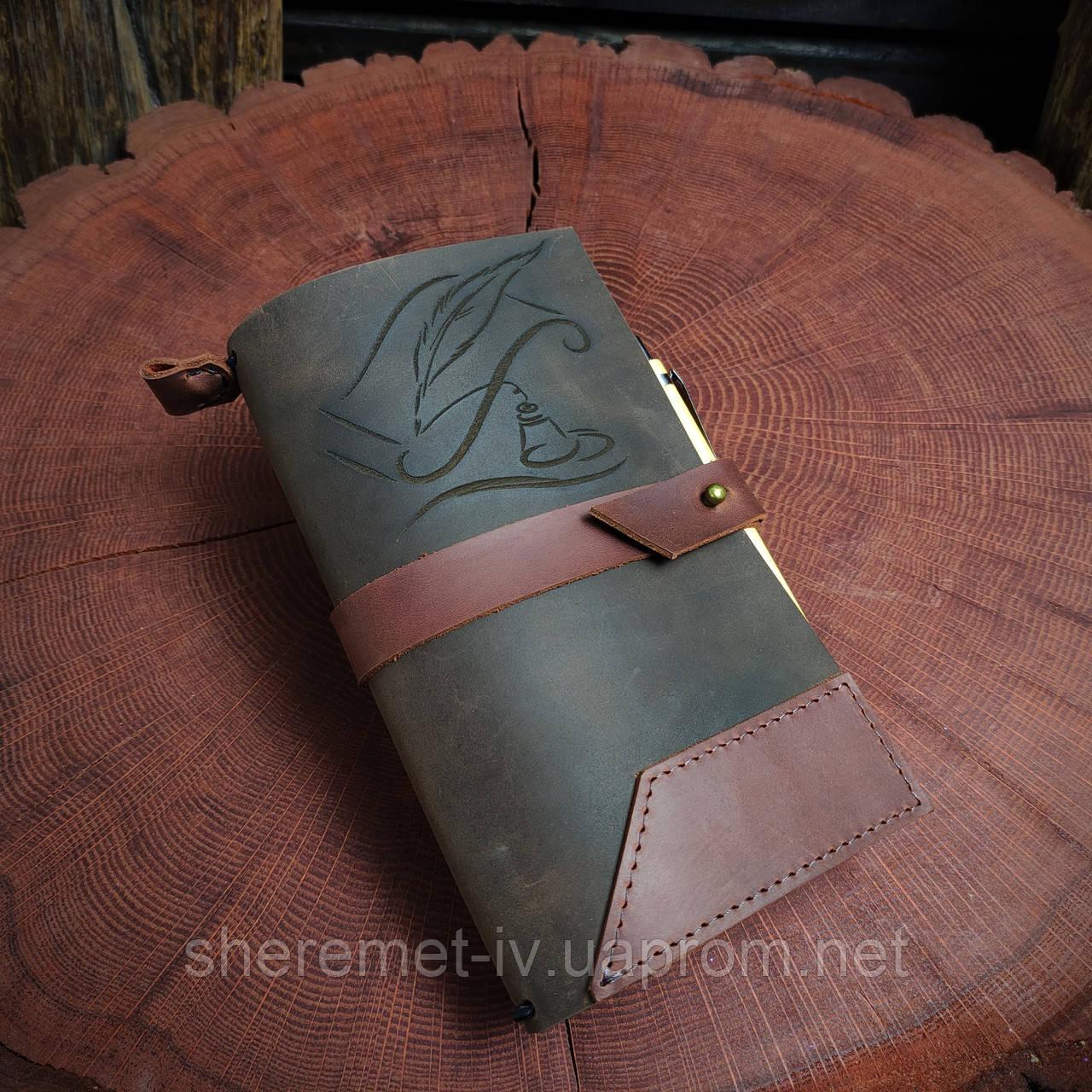 Именной кожаный блокнот,  гравировка и подарочная коробка в подарок!