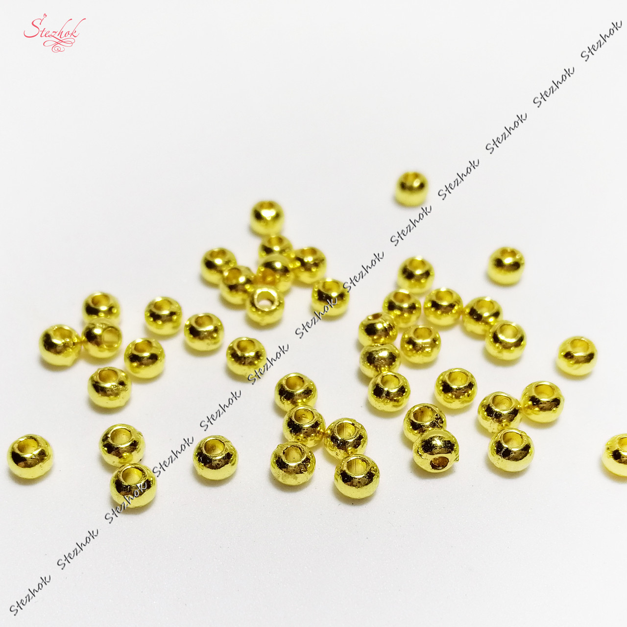 Металлическая бусина 3 мм разделитель золото для рукоделия