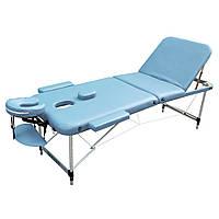 Массажный стол складной ZENET ZET-1049 LIGHT BLUE размер M ( 185*70*61), фото 1
