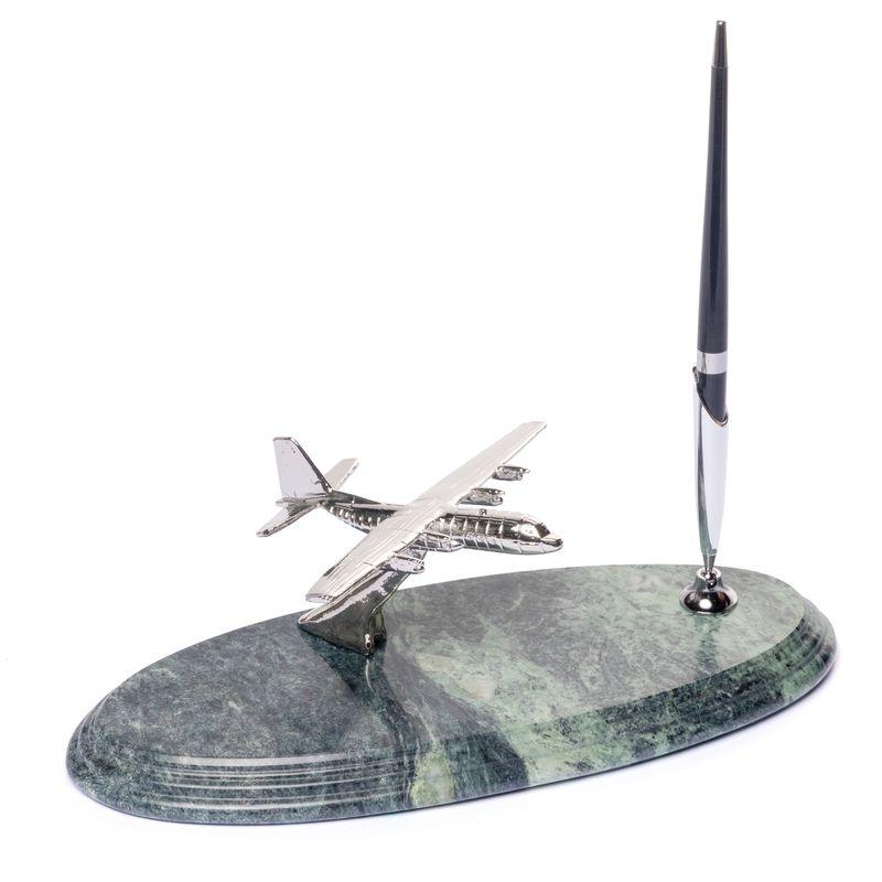 Подставка для ручки BST 540052 24х10 с самолетом мраморная