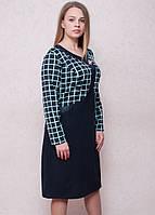 Оригинальное женское платье обманка в модный принт клетка