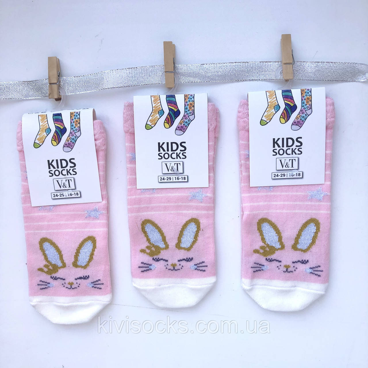 Шкарпетки дитячі дівчинка V&T socks з малюнком Зайчик люрекс