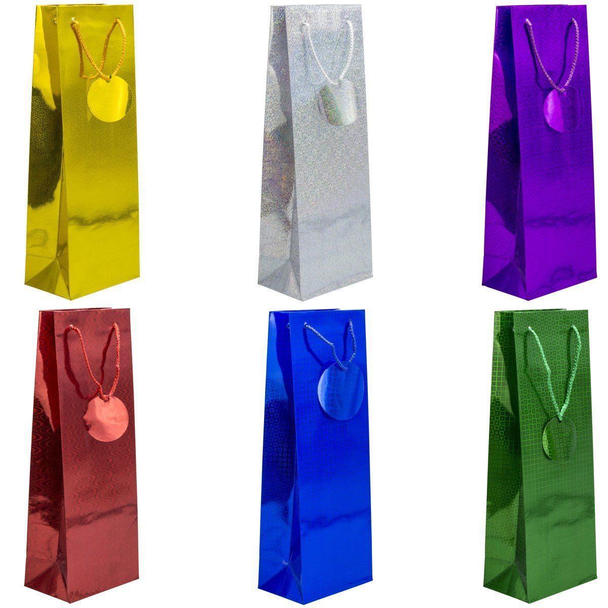 Пакет подарунковий паперовий для пляшки голограма 36*12*10 см