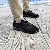 Летние кроссовки черные мужские текстильные сетка в стиле adidas yeezy, фото 3