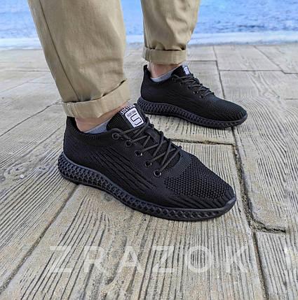 Летние кроссовки черные мужские текстильные сетка в стиле adidas yeezy, фото 2