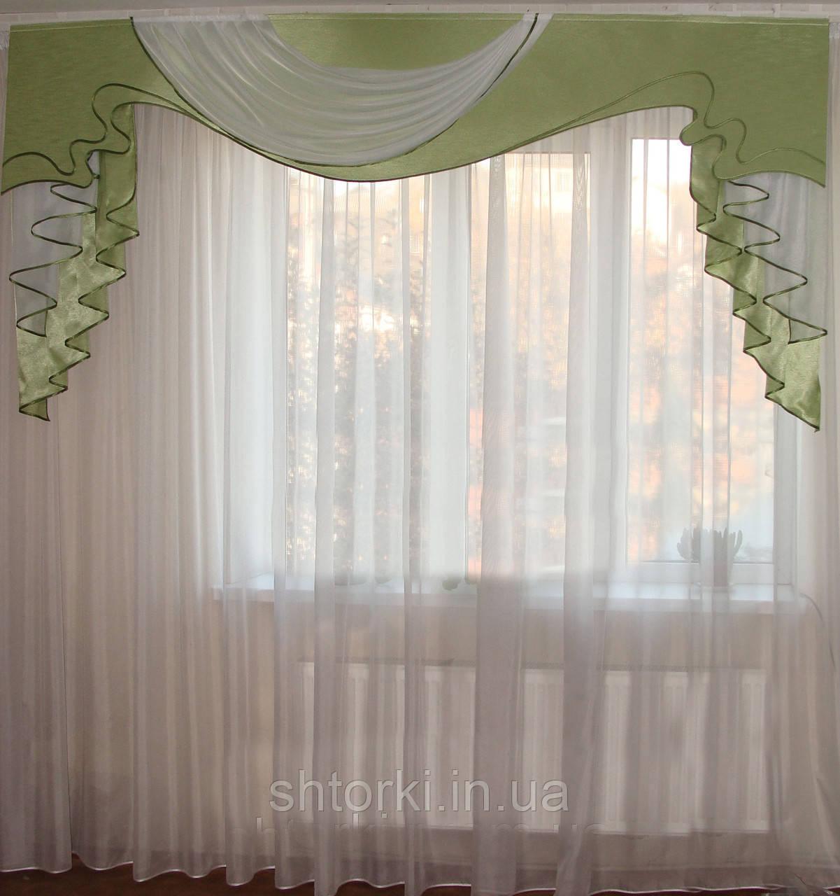 Жесткий ламбрекен Роспись Салатовый 2,5м
