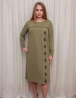 Платье с оригинальной вышивкой и вставкой эко-кожи, фото 1