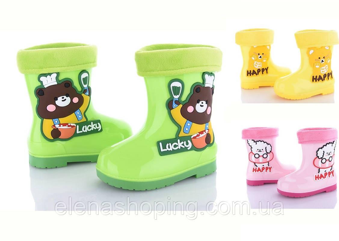 Яскраві гумові чобітки для дівчинки (р25-29)