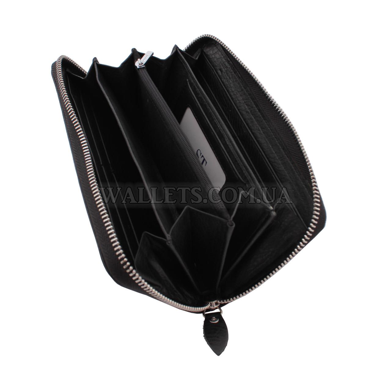 Шкіряний гаманець-барсетка ST Leather Accessories на блискавці, чорний, матовий.