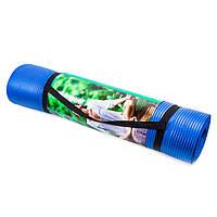 ̊ Коврик мат гимнастический, для спорта World Sport для йоги и фитнеса синий Nbr 180х80х1см M11-282186