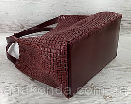 733 Натуральная кожа Бордовая женская сумка на плечо тиснение 3D кожаная бордовая женская сумка мягкая, фото 3
