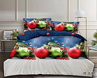 """Красивое постельное белье из бязи Ранфорс """"Новогодние игрушки"""" Евро размер"""