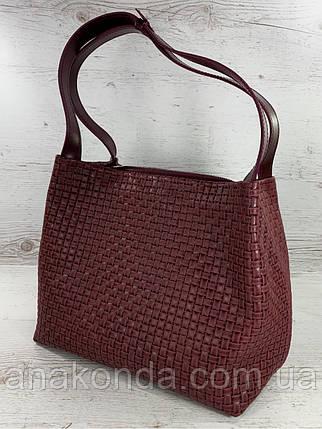 733 Натуральная кожа Бордовая женская сумка на плечо тиснение 3D кожаная бордовая женская сумка мягкая, фото 2