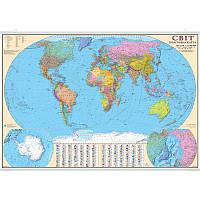 Світ 1: 22 000 000 Політична (картон) 160*110 см