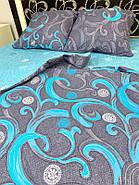"""Евро комплект (Бязь)   Постельное белье от производителя """"Королева Ночи""""   Завитки на темном и голубом, фото 6"""