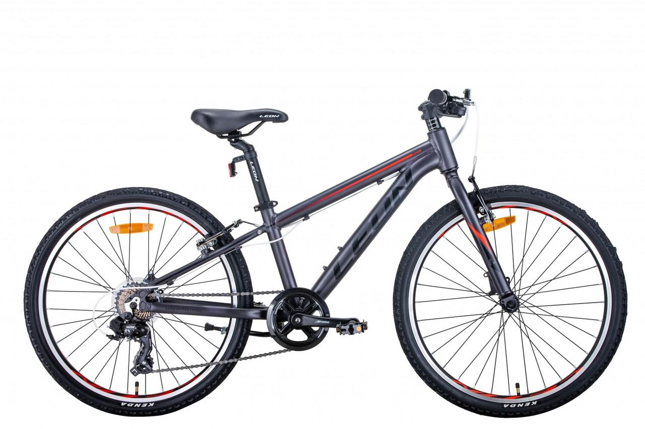 """Горный подростковый велосипед 24"""" Leon JUNIOR 2021 (антрацитовый с красным (м))"""