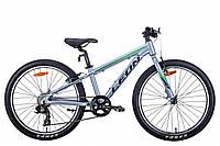 """Горный подростковый велосипед 24"""" Leon JUNIOR 2021 (серебристо-черный с зеленым)"""
