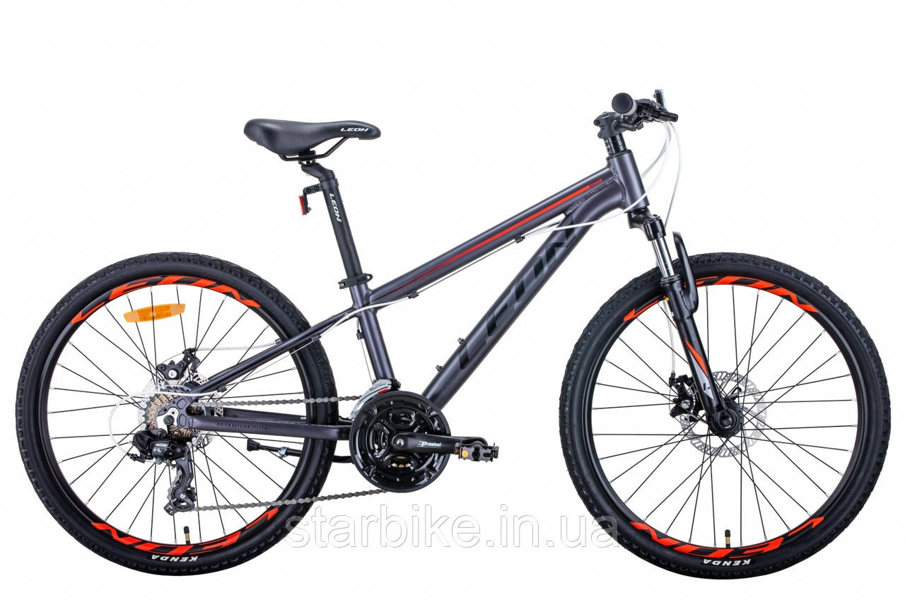 """Горный подростковый велосипед 24"""" Leon JUNIOR AM DD 2021 (антрацитовый с красным (м))"""