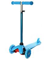 Детский трехколесный самокат BB 3-013-4-H светящиеся колеса от 3 лет (Синий)