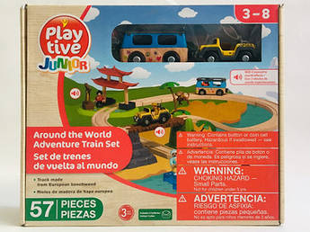 Дерев'яна залізниця PlayTive Junior World Around 57 елементів Німеччина