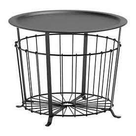 Столик с местом для хранения IKEA GUALÖV 60 см Черный (703.403.79)