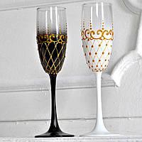 """Свадебные  бокалы """"Жених и Невеста"""" с золотом"""