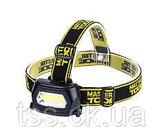 Ліхтар налобний з регулюванням нахилу, 3 режими, 75*46*29 мм, COB LED, 3 x AAA, ABS MASTERTOOL 94-0810