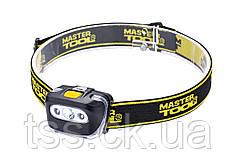 Ліхтар налобний, 4 режиму, 55*35*40 мм, CREE XT-E WHITE LED + 2 x RED LED, 3 x AAA, ABS MASTERTOOL 94-0813