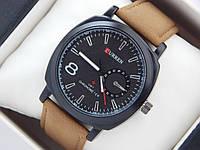 Мужские кварцевые наручные часы Curren GMT Chronometer на кожаном ремешке, Black, фото 1