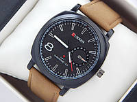 Мужские кварцевые наручные часы Curren GMT Chronometer на кожаном ремешке, Black