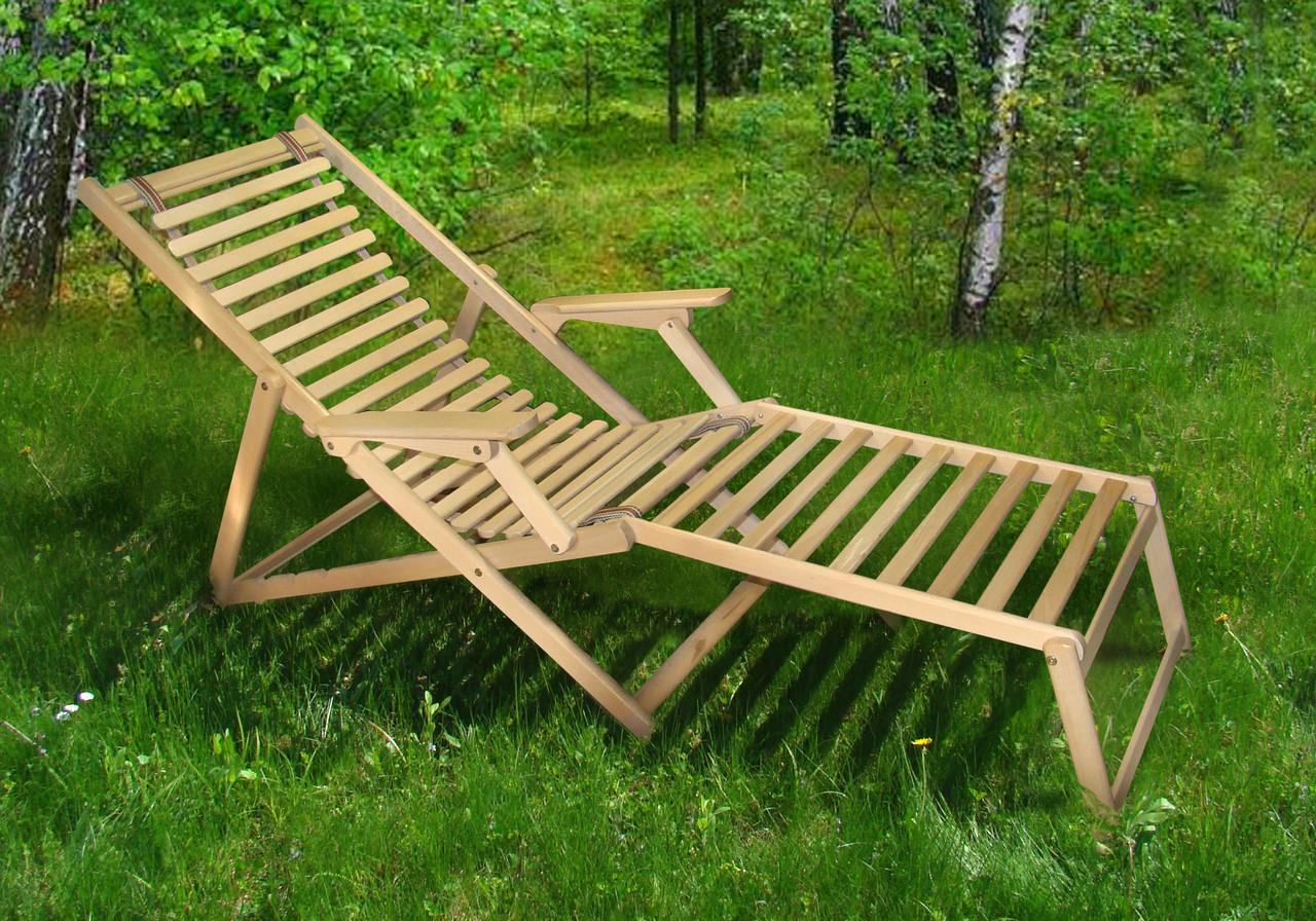 Шезлонг Пикник с подножкой natural (Микс-Мебель ТМ)