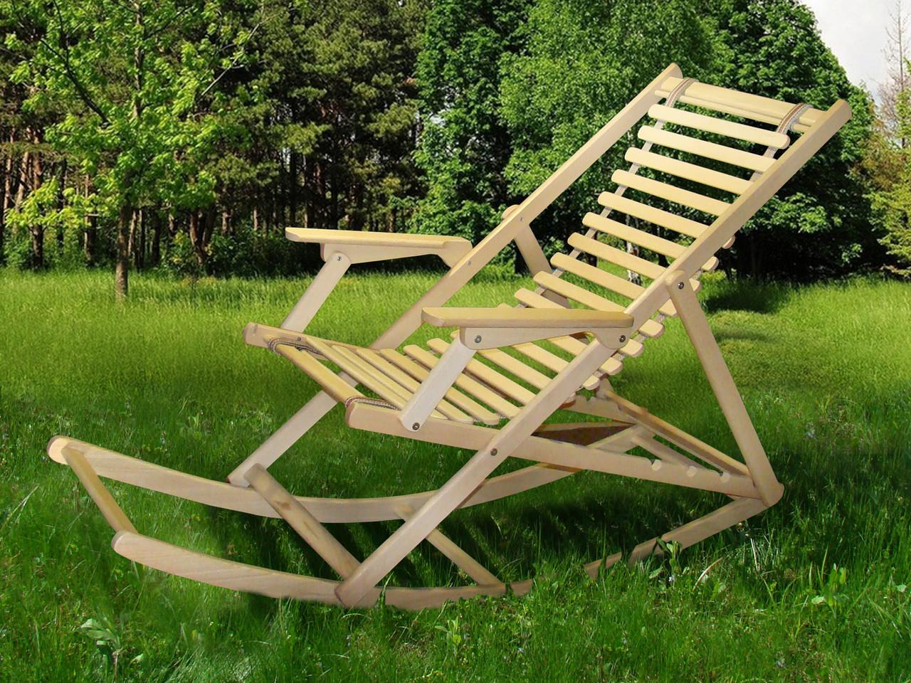 Шезлонг Пикник с качалкой natural (Микс-Мебель ТМ)