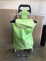 Зелёная сумка тележка на пластмассовых колёсах (артикул: ТХС-1)