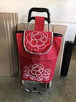 Красная хозяйственная сумка тележка на пластмассовых колёсах (артикул: ТХС-2)