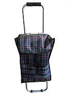 Cкладная хозяйственная сумка тележка на пластмассовых колёсах, кравчучка (артикул: ТХС-4)