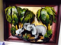 Картина объемная Слоны 45*40см. Оригинальный подарок  код 56022