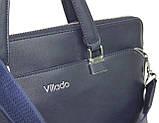 Жіноча ділова сумка, портфель з еко шкіри Villado синя, фото 6