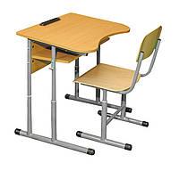 Комплект 1-местный антисколиозный регулируемая высота (0142+90295) Да, Да, Нет, 1, Нет, 1, Гелика, фанера, комплект ученический одноместный (стол + 1 стул), Серый
