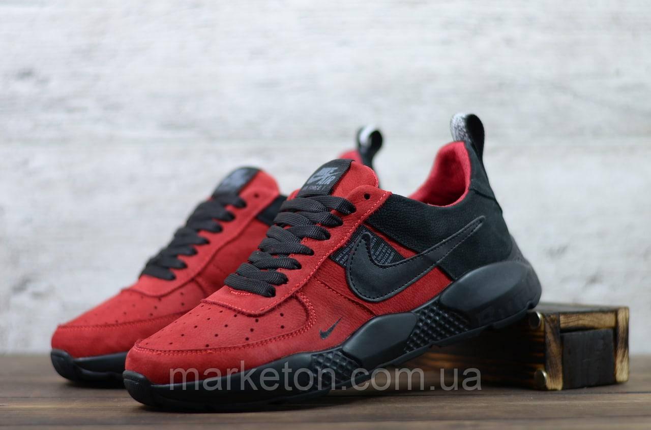 Чоловічі шкіряні кросівки демісезонні Червоні з чорним Nike