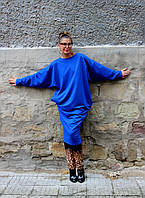 Платье синее миди длинный рукав летучая мышь