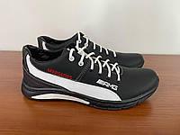 Чоловічі кросівки чорні з білою полосою (код 6551), фото 1
