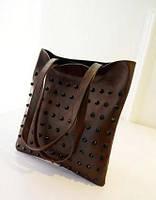 Стильная Модная женская сумка с шипами,темно-коричневая, повседневная